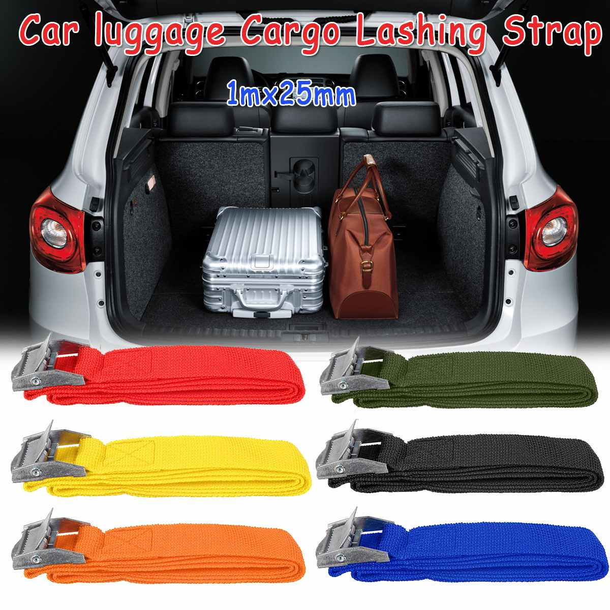 4PCS/set 1Mx25mm Car Tension Rope Tie Down Strap Strong Ratchet Belt Car Luggage Bag Cargo Lashing Strap Zinc Alloy Zinc Nylon