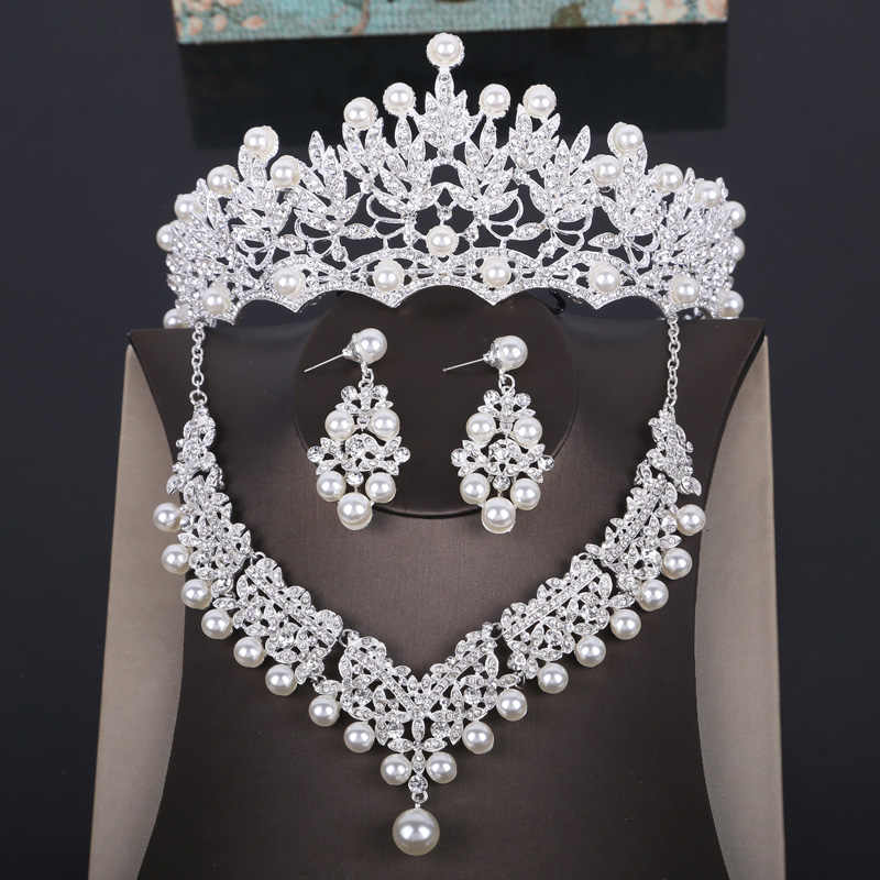Fashion Crystal Pearl Costume Jewelry Sets Rhinestone Statement Necklace Earrings Crown Tiaras Set Women Wedding Jewelry Sets