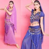 4PCS Set Belly Dance Dress Skirt Top Belt Veil For Head Women Belly Dancing Performance Dress
