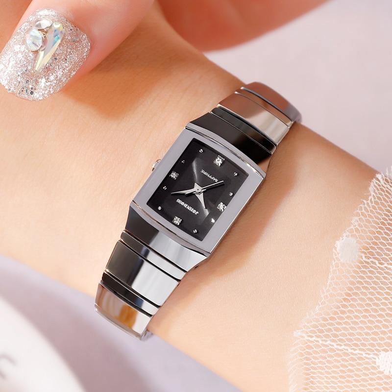 Movimento de Aço de Tungstênio Resistência à Água de Relógios de Luxo Swiss Untrathin Senhora Assistir Fashin Mini Elegante Pequeno Relógio Mulheres