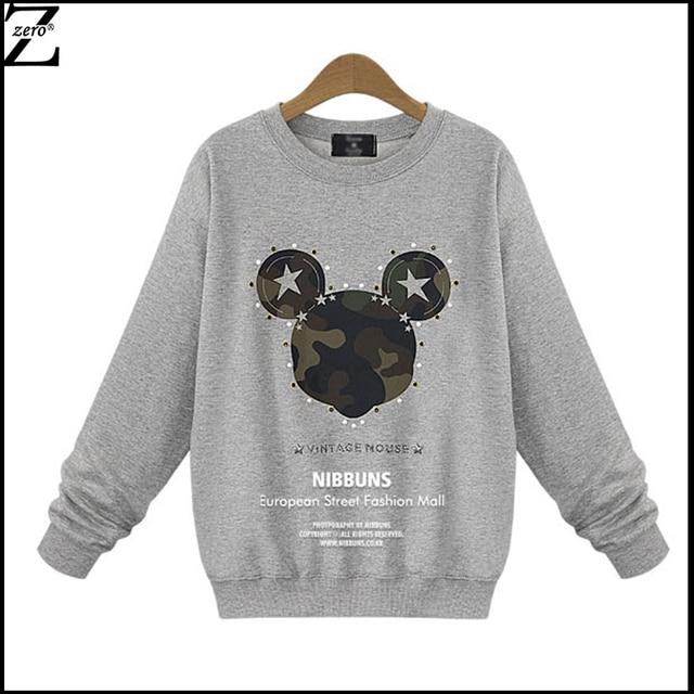 Autumn Winter Women Sweatshirt Fashion Tracksuits O-Neck Full Sleeve Pattern Print with Beads Moleton Feminino NRJ-121A-8982