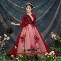 2018 Новый Платье принцессы для девочек с цветочным рисунком для Костюм на свадьбу и праздник с круглым вырезом Детские Платья с цветочным ри