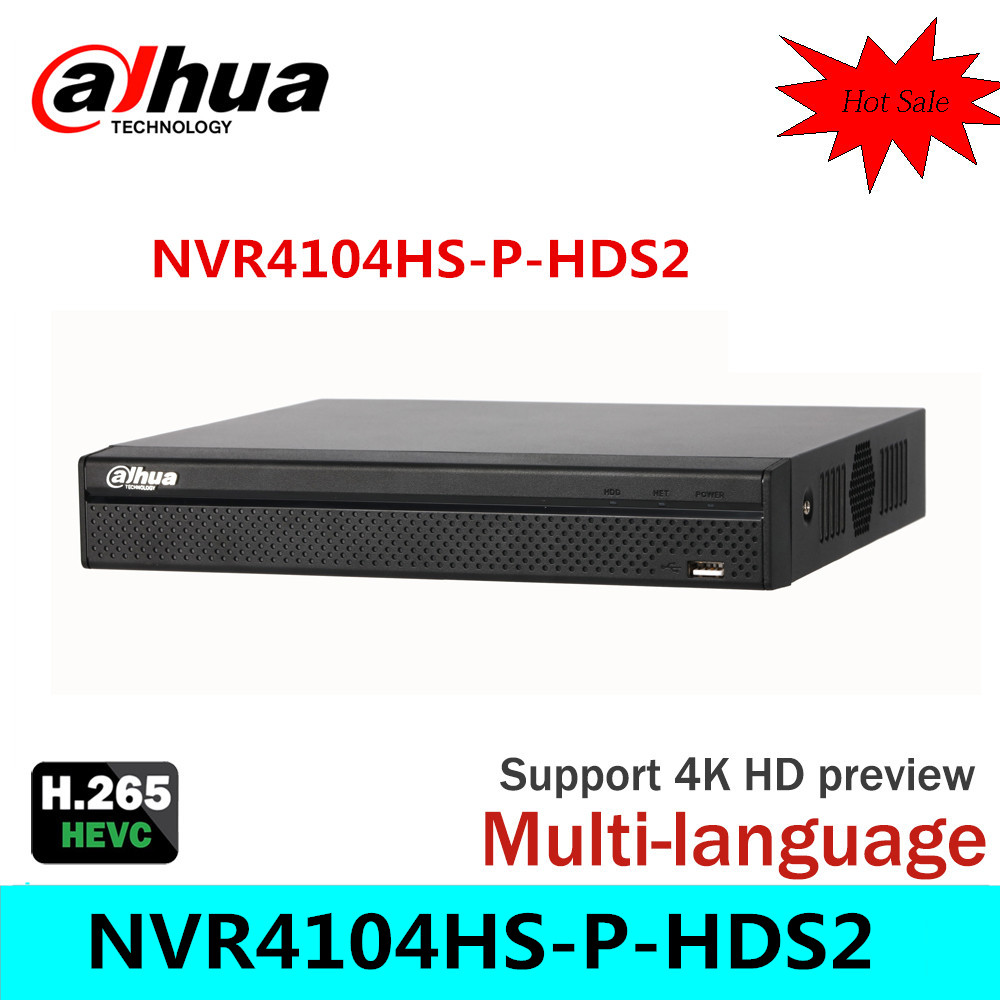 Cost Effective Dahua 6MP Network Video Recoder NVR4104HS P HDS2 4CH NVR Support ONVIF CGI Conformant