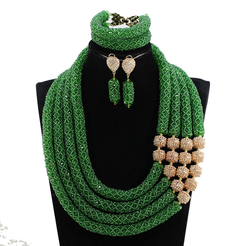 miss mousaie Gold Beads and Green Crystal Necklace Earring Bracelet Jewelry Sets African Bridal Costume Jewelry Sets GB002
