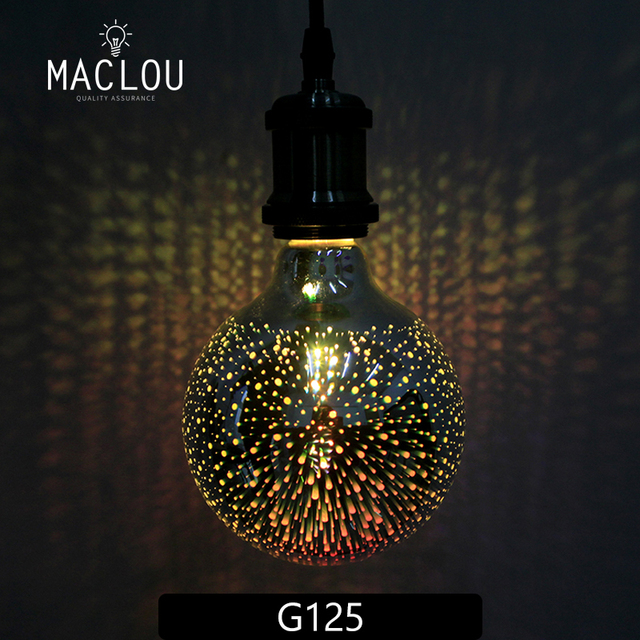 Lampara ampoulada bombilla Led 220 V G95 3D retro Vintage Edison luz de noche lámpara de bombilla Led 220 V G95 estrella vacaciones decoración de Navidad iluminación