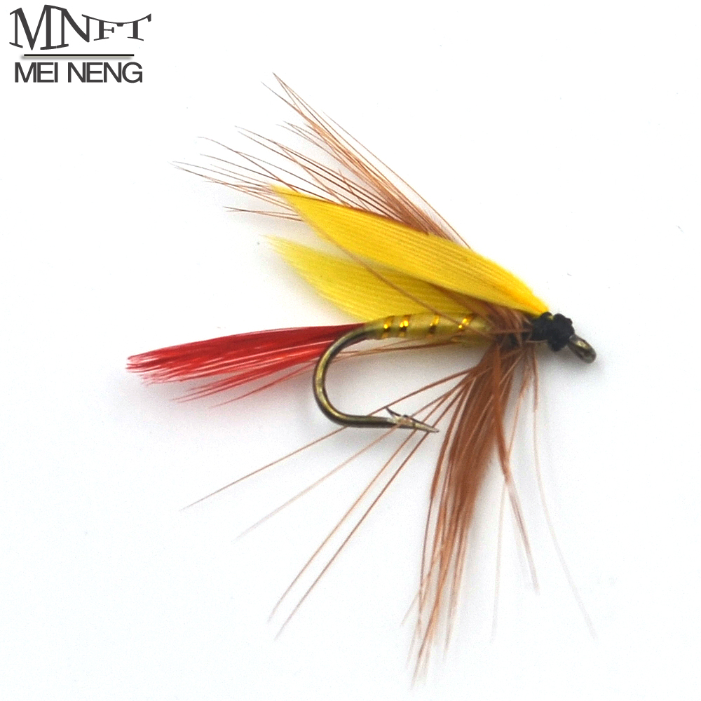 Mnft 10pcs 12 small zebra yellow wings red tail mayfly for Fly fishing lures