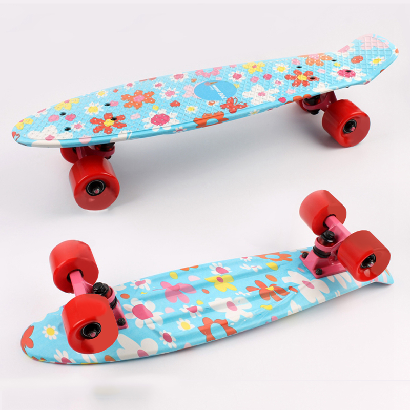 2016 Children's Scooter Mini Cruiser Peny Board Skateboards Printed 22inch Skateboard Complete Longboard Deck Skate Board 2016 new peny board skateboard complete retro girl boy cruiser mini longboard skate fish long board skate wheel pnny board 22