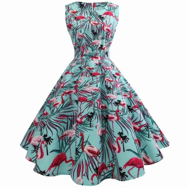 56e3f4145843 Rockabilly Dress 2018 New Flamingo Print Summer Dress Women Sleeveless  Party Vestidos Mujer 50s 60s Vintage