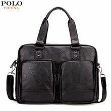 Vicuna polo förderung big größe männer reisetaschen mit großen taschen Hoher Qualität Schwarz Leder Reisetasche Mode Männer Handtasche Tote