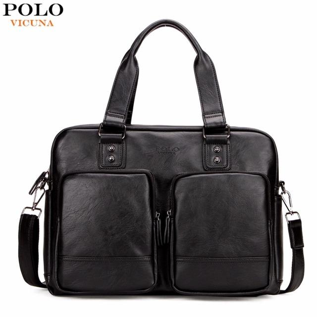Vicuna polo de promoción de gran tamaño de los hombres bolsas de viaje con gran bolsillos de Alta Calidad Bolsa de Viaje de Moda Hombre Bolso de Cuero Negro totalizador