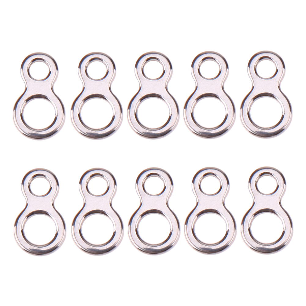 10Pcs/set  Fishing Butterfly Jigging Stainless Steel Figure 8 Solid Ring Assist Hook Fishing Tackle Tool Accessories 3 Sizes