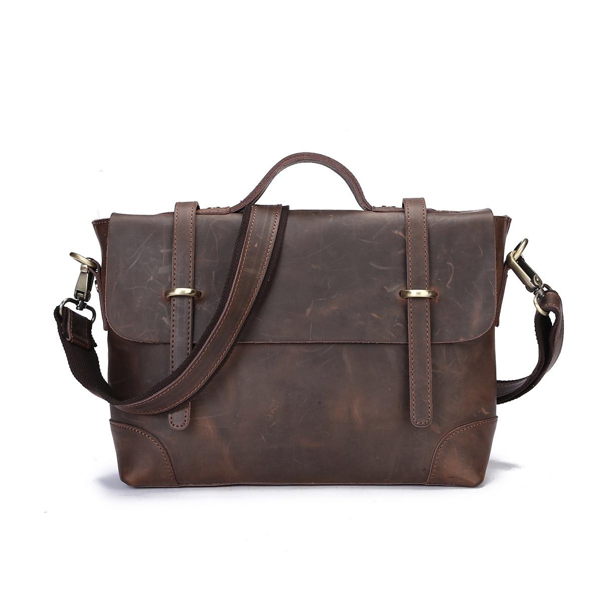 100% Genuine Leather Shoulder Bag Men Fashion Design Handbags Male Crazy Horse Leather Briefcase Business Laptop Messenger Bags