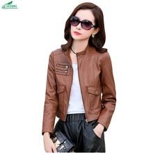 PU leather clothing spring autumn new Korean large size Slim fashion casual lleather jacket Outerwear female short OKXGNZ AF48