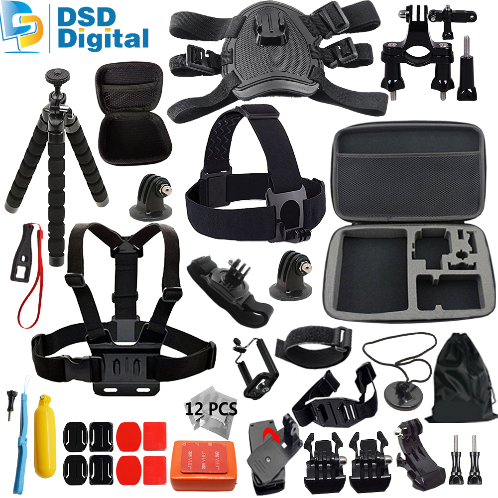 SAQN for Gopro dog  accessories kit mini bag for go pro hero 5 4 3 mount for xiaomi yi camera eken h9 tripod sjcam m20 11C for gopro hero 4 gopro hero3 accessories kit xiaomi yi accessories for gopro sjcam xiao yi 4k action cam camera bag bike mount