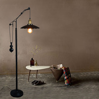 Retro Floor Lamps Living Room Clothing Shop Study Room Standing Lamps Rustic LED vintage Lift down Telescopic Glass Floor Lamp