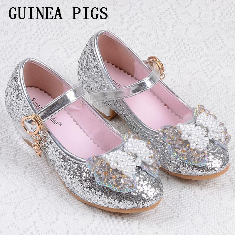 Sequin Glitter Children Shoes Girls High Heels Pumps Kids Snow Queen Party  Beading Dance Shoes For ... aa4b7e430bb2