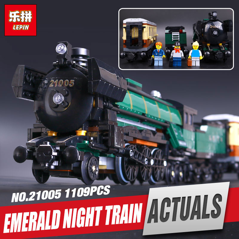 LEPIN 21005 Technic Series Emerald Night Train Model Educational Building Kits Block Bricks Children Gigt Toys legoing 10194