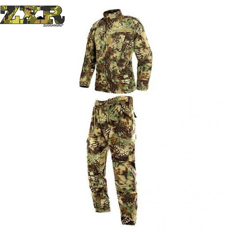 Mens Tactical Jackets+pants Uniforms Hunting Clothes Yellow Python Camouflage Suit Army Military Multicam Combat Ghillie Suits men hunting clothes military uniforms multicam army combat shirt tactical pants with knee pads camouflage clothing ghillie suit