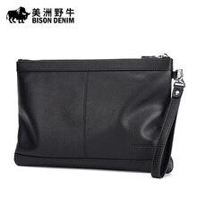 2016 BISON DENIM Brand Men Genuine Leather Bag Handbags High Quality Purse Business Clutch Bag Wallet Men's Bag Free Shipping