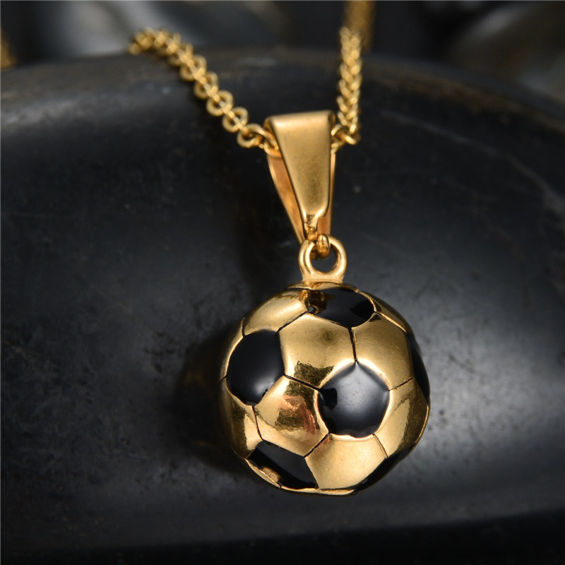 New hot enamel jewelry stainless steel soccer necklace gold color new hot enamel jewelry stainless steel soccer necklace gold color football charm pendants colar in pendant necklaces from jewelry accessories on mozeypictures Image collections