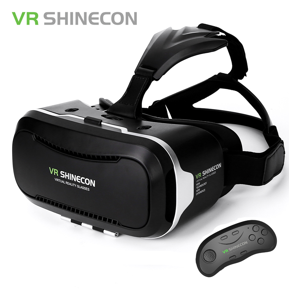 VR Shinecon Virtual Reality 3D Glasses Google Cardboard Headset VR Box 2.0 Untuk 4.7-6.2 Ink Smartphone + Bluetooth Controller