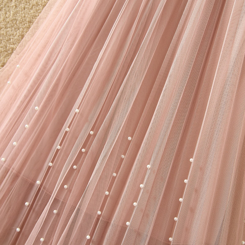 New 2019 Spring Summer Skirts Womens Beading Mesh Tulle Skirt Women Elastic High Waist A Line Mid Calf Midi Long Pleated Skirt 15