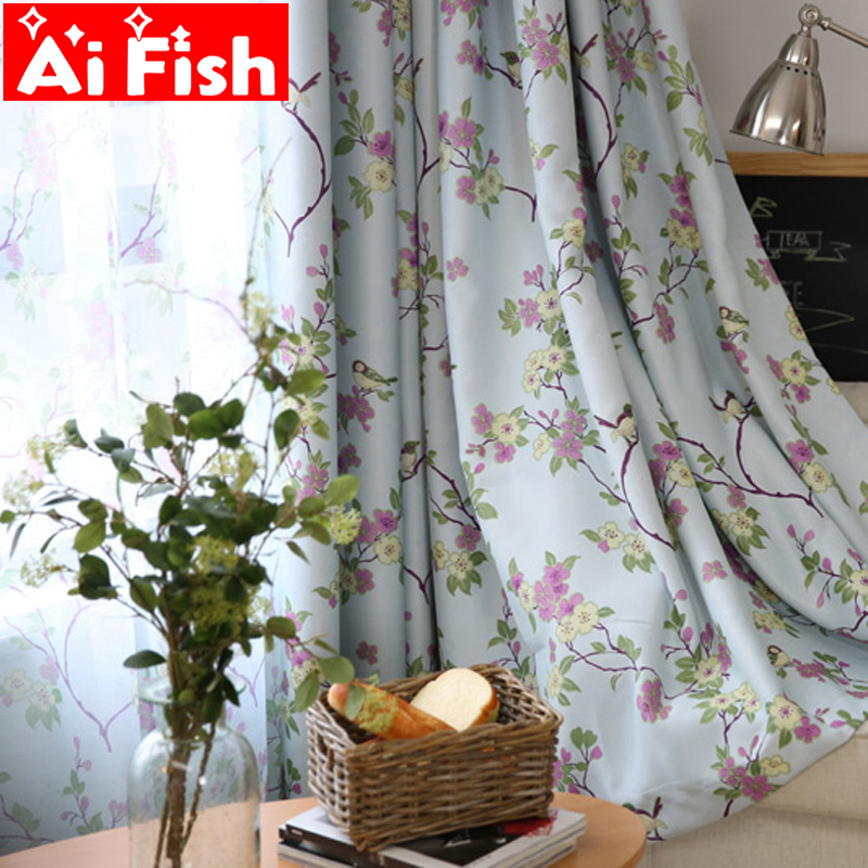 Pastoral Flowers Magpie The New American Country Style Fresh Full Shade  Printing Curtains For Living Room AP183 30