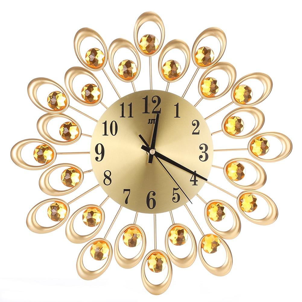 2 Style Vintage Metal Art Wall Clock Luxury Diamond Large Wall Watch ...