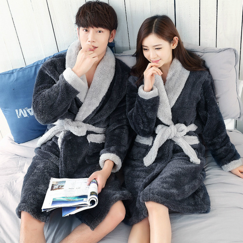2017 autumn and winter thick plush pajamas warm home clothes men and women couples sleep gowns bathrobes SD-Rodes-01