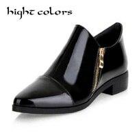 Sólido Cor Da Moda Couro Apontou Sapatos Baixos Mulheres Oxfords Inglaterra Estilo Grosso Com Botas Nuas Botas de Tamanho Grande 34 ~ 43