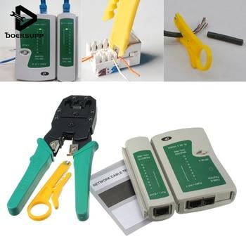 1 unid Cable Crimper RJ45 RJ11 RJ12 CAT5 de red LAN Kit de comprobador de Cable Stripper Crimper alicates de calidad superior