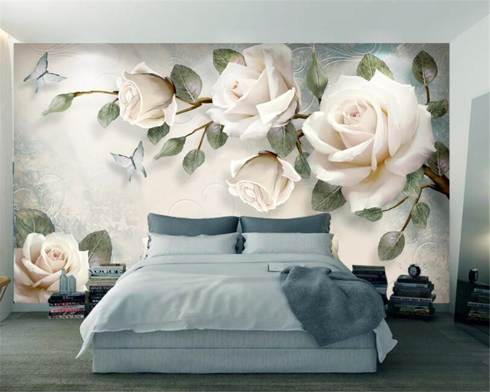Moderno 3d papel de parede pintados à mão pintura a óleo floral euro fundo decoração murais papel beibehang