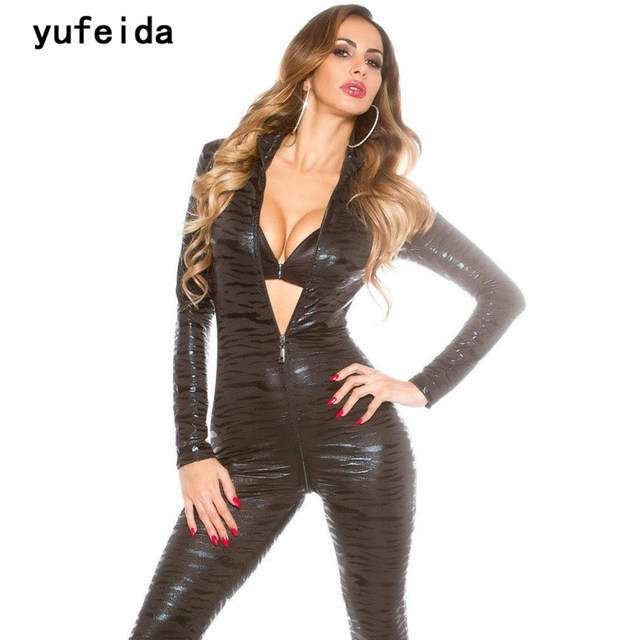 07228b141c YUFEIDA Women Jumpsuits Leopard Pattern Women Sexy Catsuit Faux Leather  Smooth Wet Look Adult Club Wear Catwoman Costume