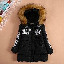 Девочка средней длины хлопка-ватник одежда утолщение молнии свитер верхняя одежда ребенка женская ватные куртки зима