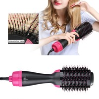 Professional Hair Dryer Brush 2 In 1 Hair Straightener Curler Comb Electric Blow Dryer With Comb Hair Brush Roller Styler