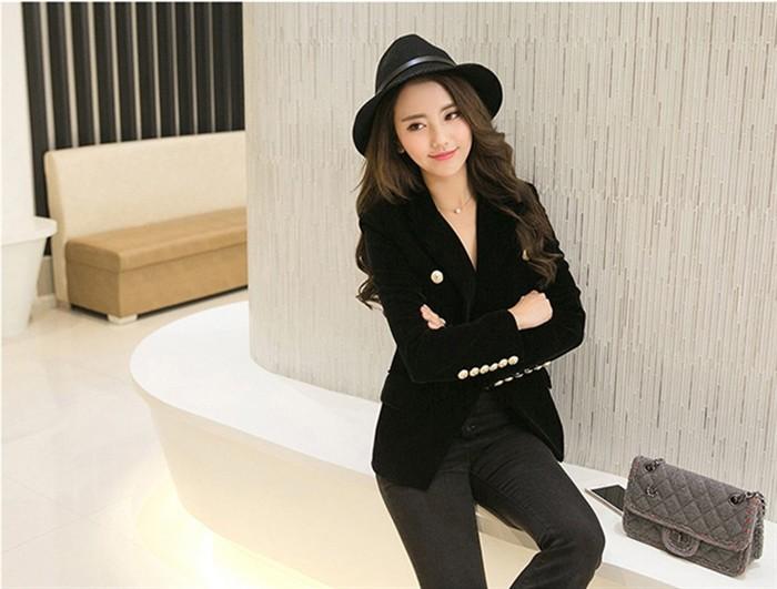 2016 New Spring Fashion Women Midnight Navy Slim Velvet Blazer Jacket Double Breasted simple Lady Blazers  (10)