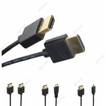 Micro HDMI mâle vers HDMI OD 3.0mm câbles minces Super doux et Mini câble HDMI mâle 2k * 4k hd @ 60hz Portable léger