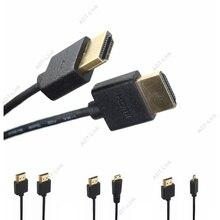 Micro HDMI male naar HDMI OD 3.0mm Super Zachte Dunne Kabels & Mini HDMI mannelijk Kabel 2k * 4k hd @ 60hz lichtgewicht Draagbare