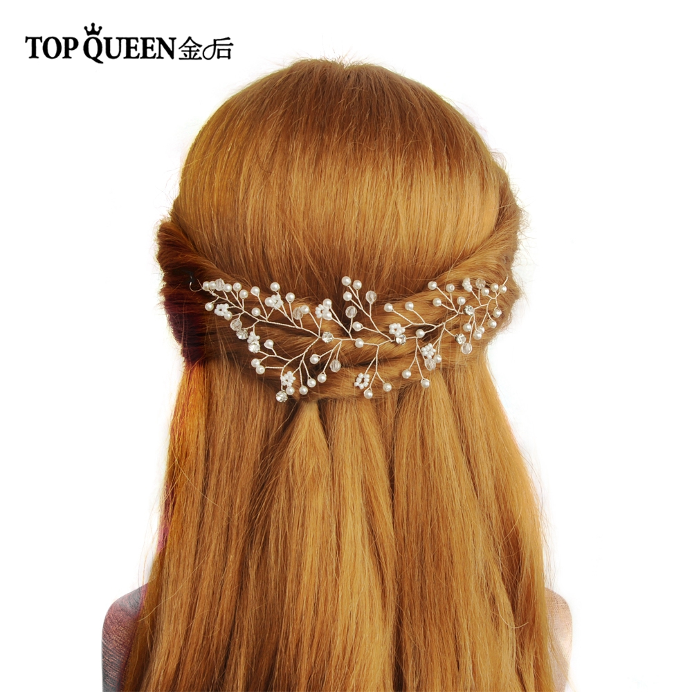 TOPQUEEN HP99 Bridal Hair Headpieces Wedding Accessories With Pearls Rhinestone And Crystal Silver Color Bride Hair Jewelry