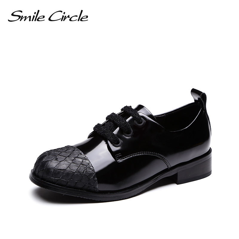 smile circle Oxford Patent leather flats women for shoes casual Simple fashion Round toe Lace-Up platform Spring Female shoes beffery 2018 spring patent leather shoes women flats round toe casual shoes vintage british style flats platform shoes for women