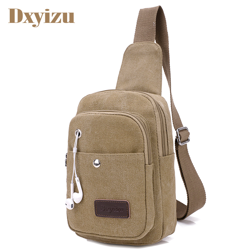 Men Daily Clutch Vintage Messenger Bag Casual Travel Rucksack Chest Bag Canvas Small Cro ...