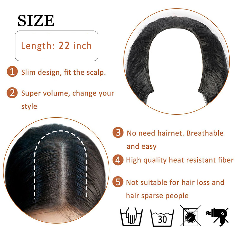 Wignee U Part 7 Clips In Hair Extension Half Wig For Women High Temperature Synthetic Fiber Long Straight Pure Hair Cosplay Wig