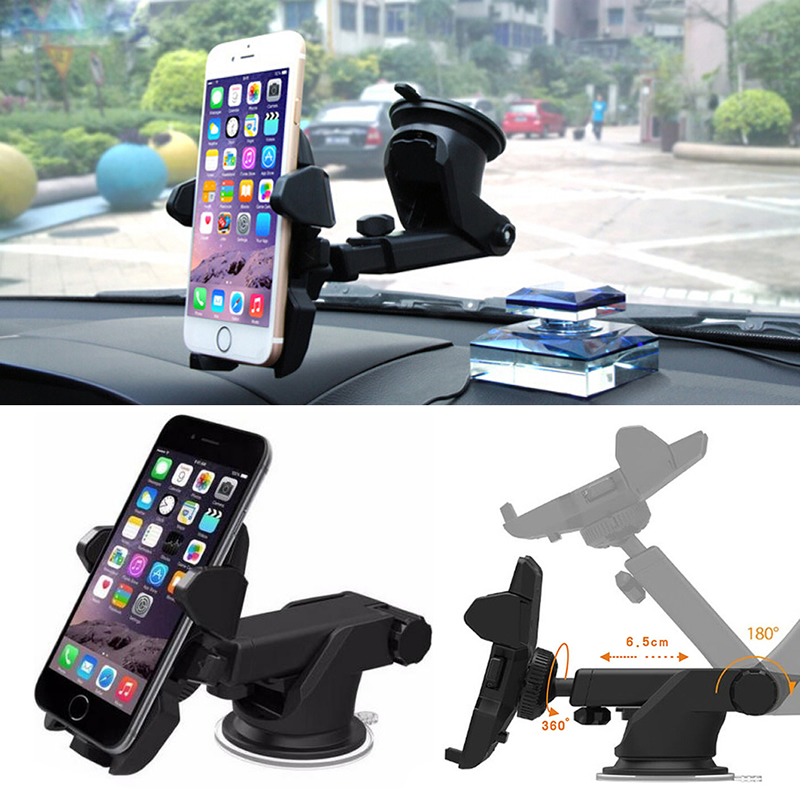 Universal Car 360 Degree Windshield Mount Holder Stand For iPhone Android Phone GPS universal tripod mount adapter telescopic cell phone stand holder