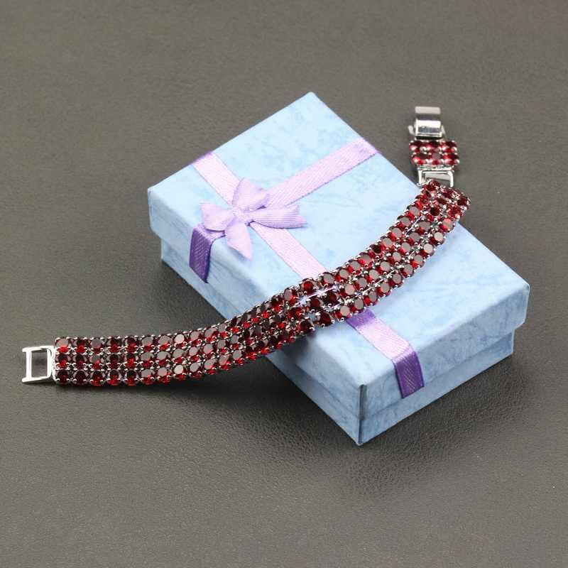 AAA + איכות 925 כסף אדום גרנט קישור שרשרת צמיד אורך 19.5CM אופציונלי 5-צבע עבור נשים חתונה קישוט