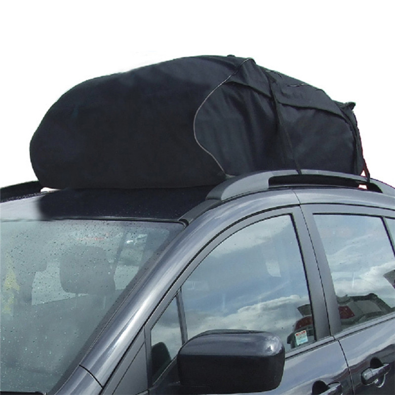 Car Style Roof Top Bag Rack Cargo Carrier Luggage Storage Travel Black Waterproof Soft Pliable For Touring SUV Van For Cars