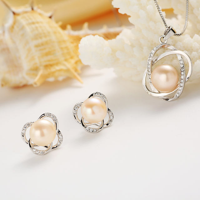 925 Sterling Silver Jewelry Set Necklace and Earrings with Natural Freshwater Pearl