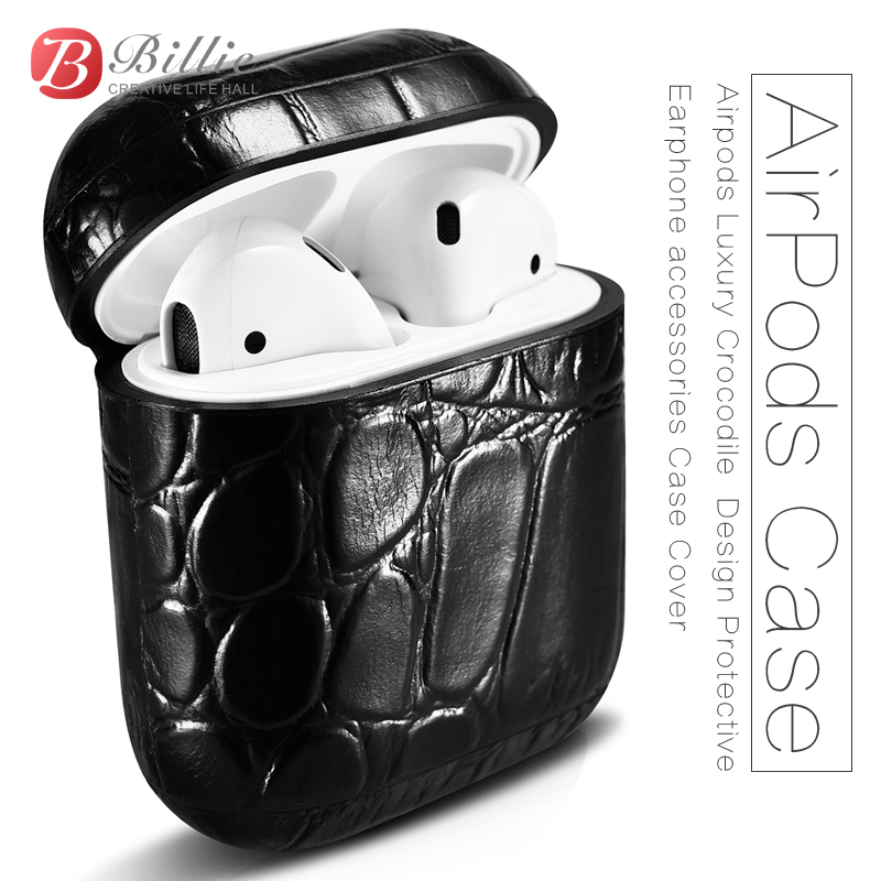 For AirPods Case Top Genuine Leather Case for Apple Airpods Luxury Crocodile  Design Protective Earphone accessories Case Cover