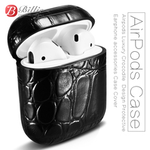 For AirPods Case Top Genuine Leather for Apple Airpods Luxury Crocodile  Design Protective Earphone accessories Cover