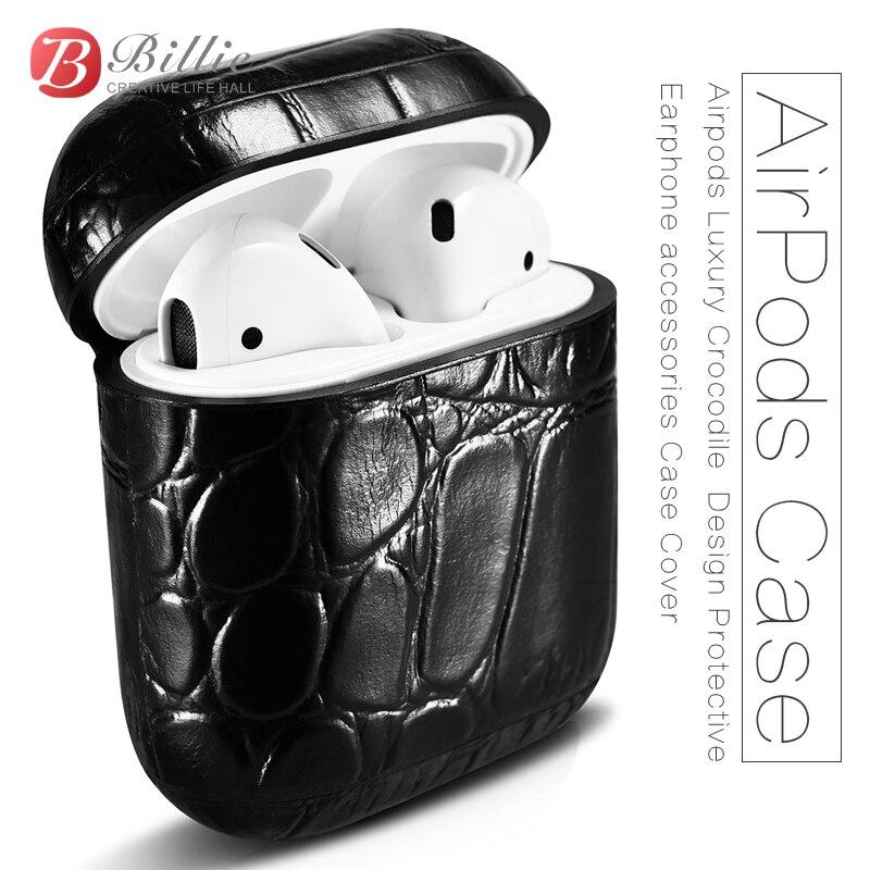Pour AirPods Cas Top Véritable Étui En Cuir pour Apple Airpods De Luxe Crocodile Conception De Protection Écouteurs accessoires de Couverture de Cas