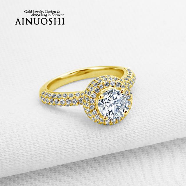 Ainuoshi 10 k sólido oro amarillo anillos de boda 1 quilates corte redondo diamante simulado joyería de la marca de las mujeres anillo de compromiso de halo bijoux